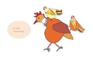 2 Hennen reiten auf Hahn
